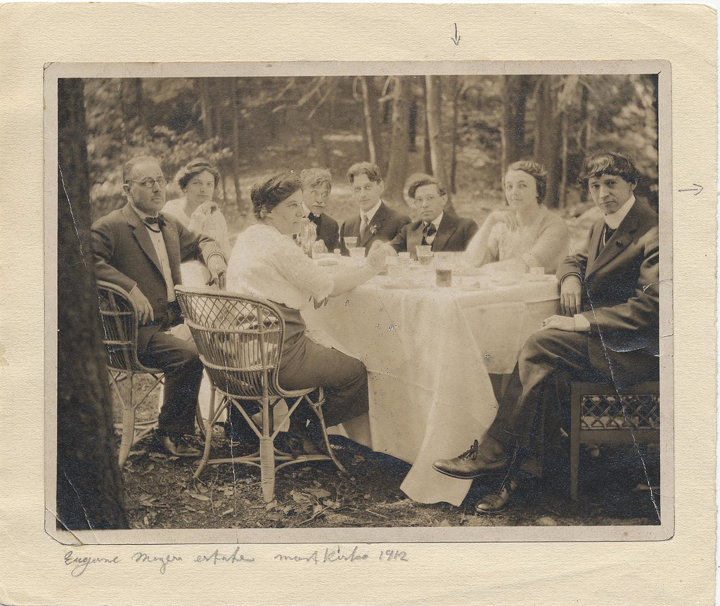 Artists dining outdoors at Mt. Kisco, picnic,