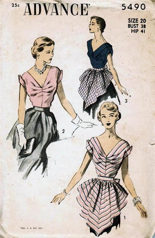 Vintage Sewing Pattern 1950s Hostess Blouse And Apron A Photo On