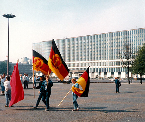 East Berlin 1990 - Party of Democratic Socialism (PDS) Rally In Marx-Engels Platz.