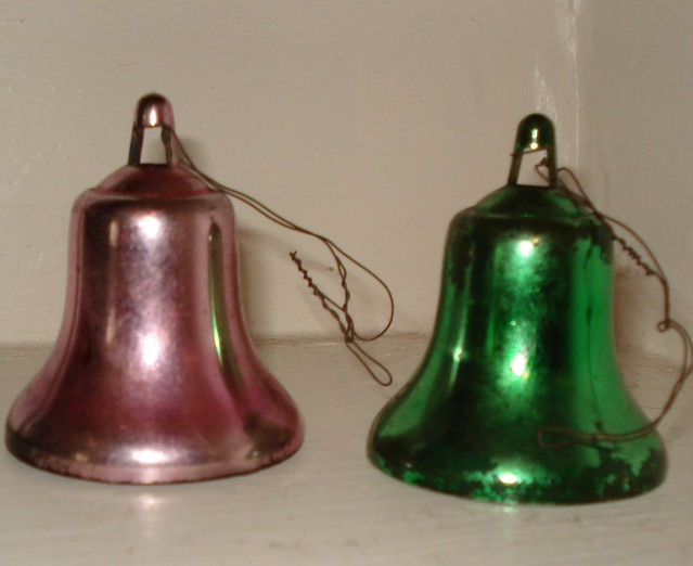 Vintage christmas bell ornaments set of