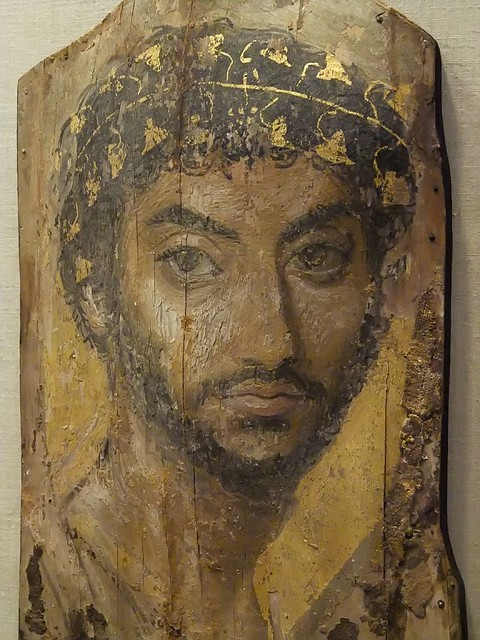 Mummy Portrait Encaustic on Wood Fayum Egypt Roman Period 2nd Century CE