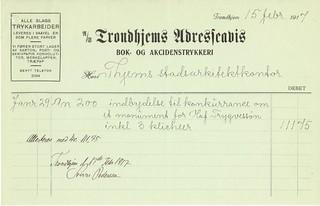 1917.02.15 - Regning fra Trondhjems Adresseavis