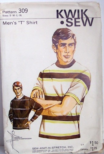 Vintage Kwik Sew Pattern 309 Mens T Shirt Multisized Small Medium Large and XLarge