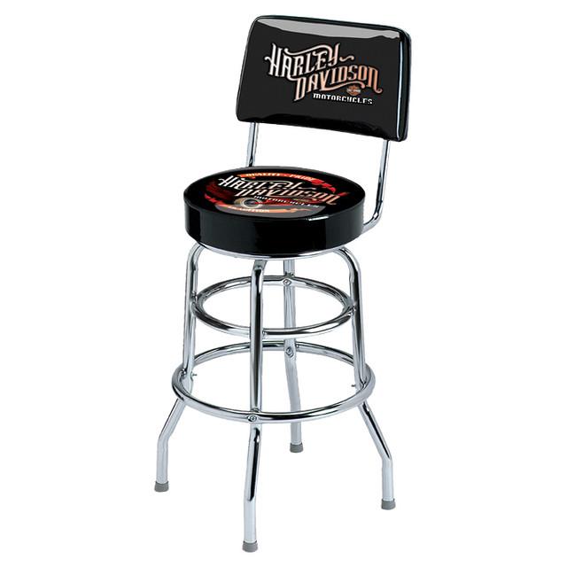 Harley Davidson Bar Stool with Backrest Winged Wheel
