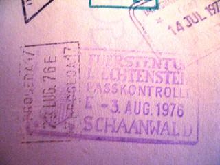 Liechtenstein passport stamp, 1976
