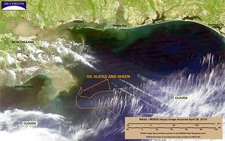 Deepwater Horizon Oil Spill – MODIS/Aqua Detail (with interpretation), April 28, 2010 – Enhanced