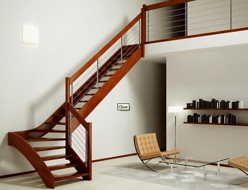 Scale - Scala a giorno in legno e acciaio inox per interni modello Imperia Silver Inox - www ...