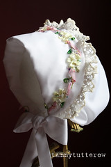 Silk Ribbon Embroidery on heirloom bonnet