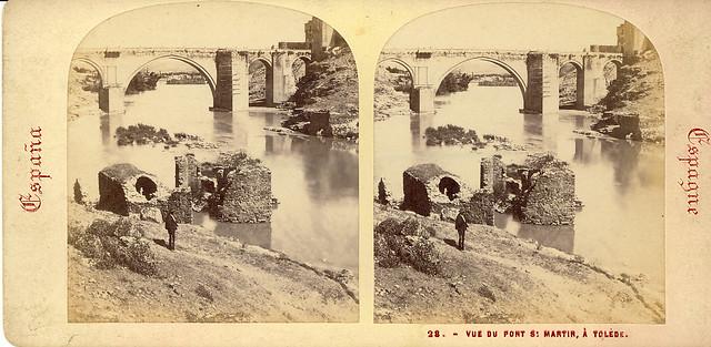 Fotografía estereoscópica de Ernest Lamy hacia 1860. Puente de San Martín