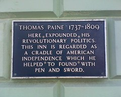 Photo of Thomas Paine blue plaque