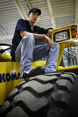 automobile, tire, yellow, auto mechanic, person,