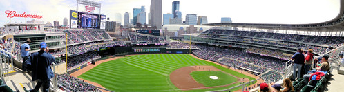 Pan of Target Field Minneapolis