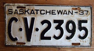 SASKATCHEWAN 1937 ---COMMERCIAL VEHICLE LICENSE PLATE