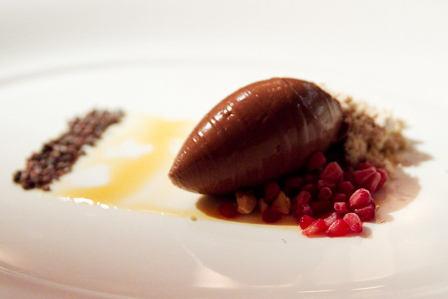 Gianduja cremosa, peanut praline powder, frozen raspberry … | Flickr ...