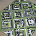 black white + green string baby quilt front