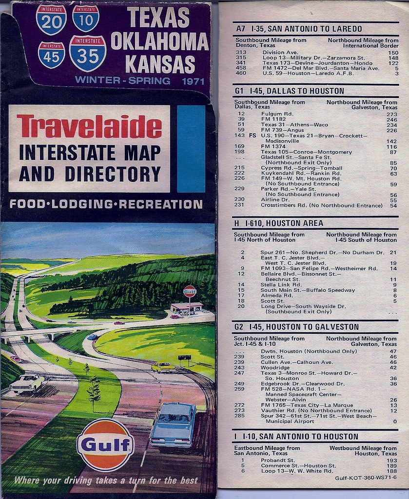 1971 Gulf Travelaide map, I-45 Texas