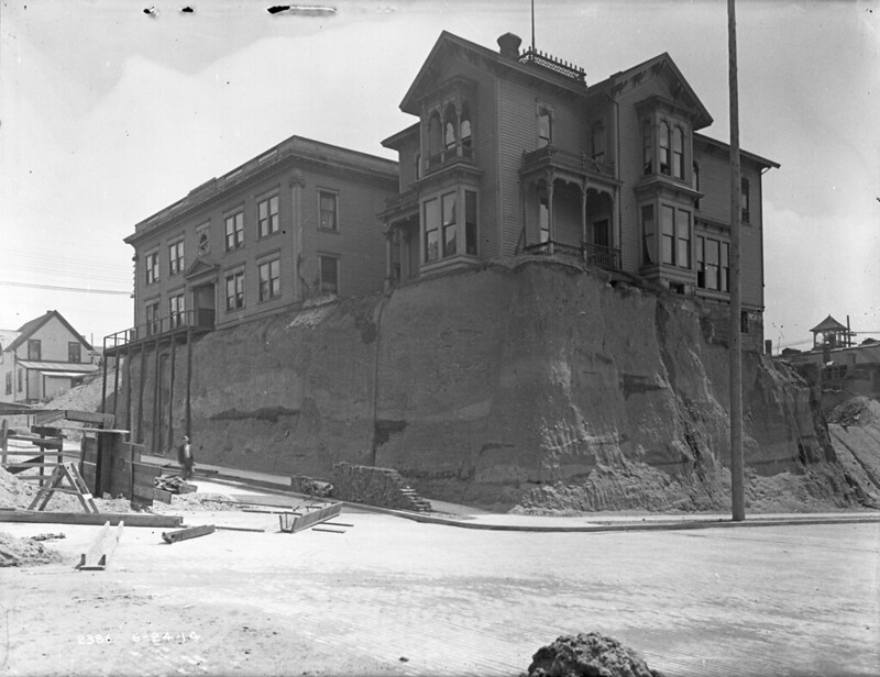 Ross Shire Hotel (6th & Marion) during 6th Avenue regrade, 1914