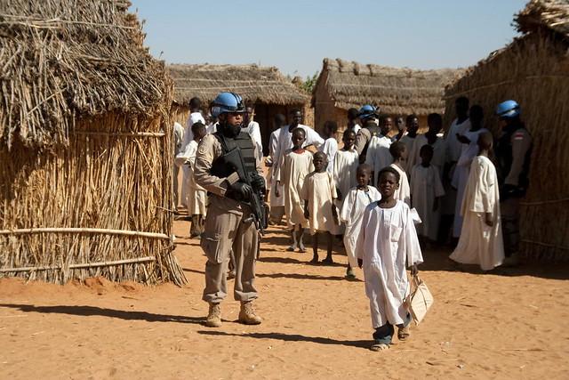 UNAMID Police Officer Patrols IDP Camp