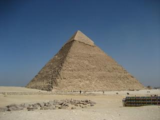 Image of Pyramid of Khafre near Muḩāfaz̧at al Jīzah. pyramid egypt 2009 giza khafre