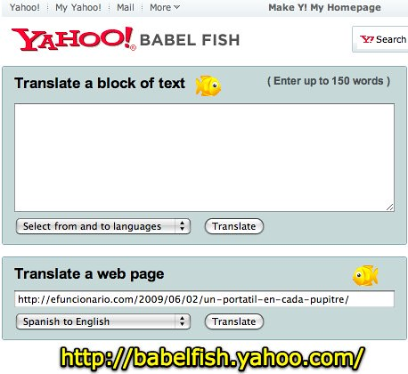 Yahoo babel fish text translation and web page translat for Translate fish to spanish