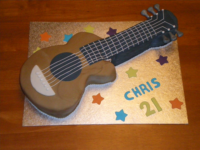Guitar cake a photo on flickriver for Guitar templates for cakes