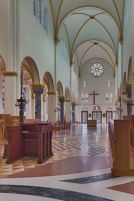 Saint Meinrad Archabbey, in Saint Meinrad, Indiana, USA - nave of church 2