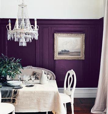 Bold, modern dining room: 'Embassy Purple' by Ralph Lauren