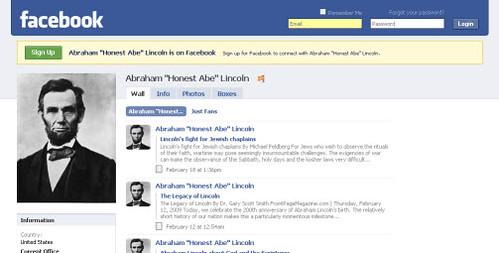 Profil Facebook d'Abraham Lincoln