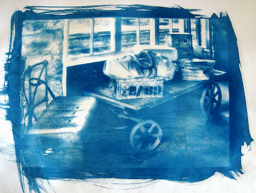 Old Cart in Tanfield - Cyanotype