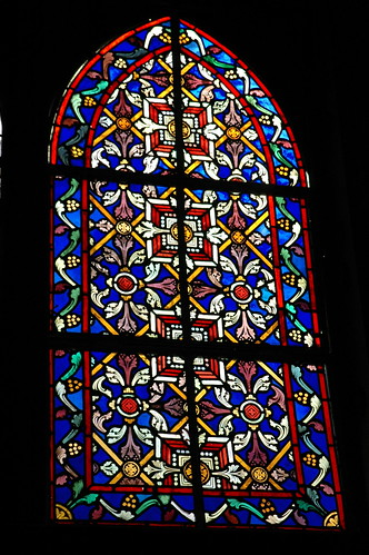 Stained glass window, Iglesia Santa Barbara de Santa Rosalia, Designed by Gustave Eiffel, Gothic, pre-fabricated, Metal church, San Rosalia, Baja California Sur, Mexico, dedicated 1887 by Wonderlane