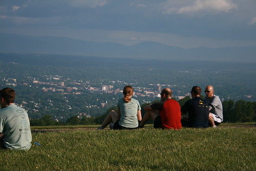 Relaxing and enjoying views of Charlottesville and the Blue Ridge Mountains