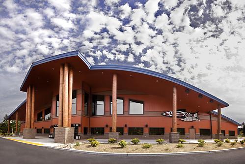 wood sky panorama architecture clouds washington community native dramatic center tribal american handheld posts job beams nisqually freelance