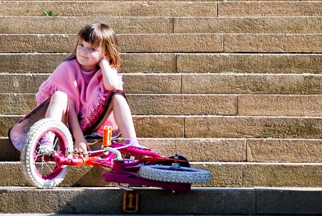 Emily on steps.
