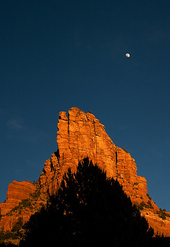 More Cathedral Rock with moon