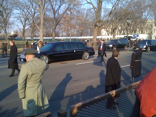 Obama's Car in Inaugural Parade Route (1)