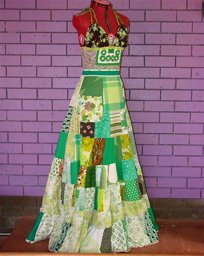 Green Patchwork Dress for Anne