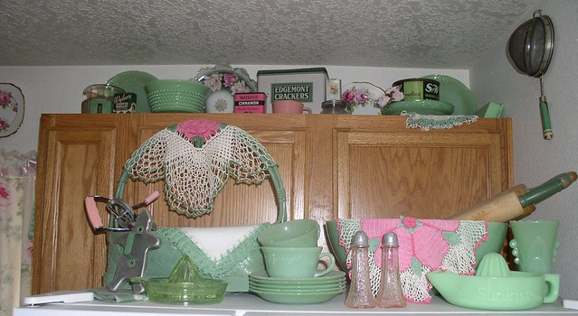 Vintage & new jadeite glassware and green kitchen collectibles