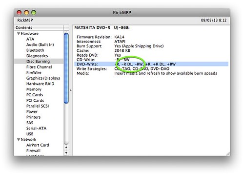 Screenshot showing how you can find if your Mac SuperDrive is Dual-Layer capable.
