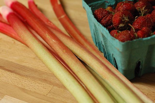 CSA rhubarb and strawberries