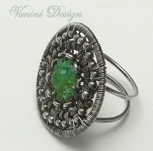 Sterling silver,emerald ring