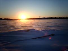 A freezing wind blowing across the frozen bay