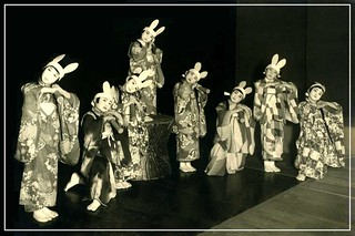 A BEVY OF LITTLE BUNNIES in OLD JAPAN