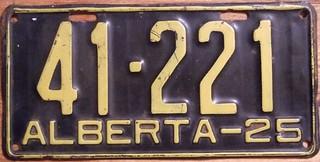 ALBERTA 1925 ---LICENSE PLATE
