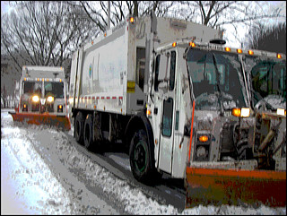 NYC Garbage Trucks as Snow Plows
