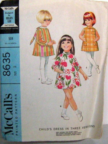 Vintage McCalls Patter 8635 Adorable Mod A Line Dress 60s Girls Size 2 with Sleeve Variations