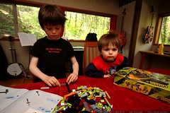 nick and sequoia building a power miners lego kit   …