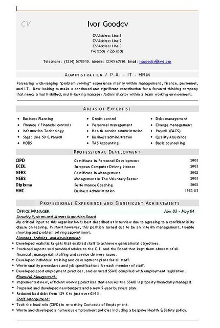 administration - finance  universal cv template