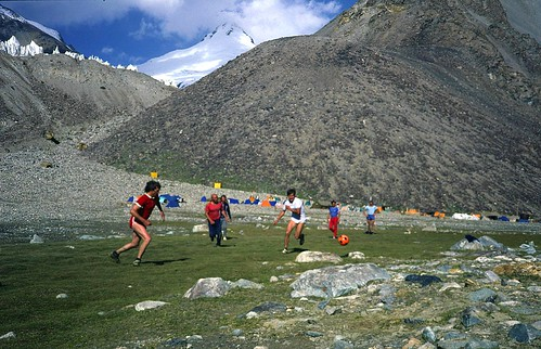 """the other final..... Tajikistan, Central Pamir Range, Basecamp """"Moskwin"""", at 4200m, """"extreme-"""" football between big stones: 5 minutes running, 20 minutes """"hoovering"""" thin air..... ;-)"""