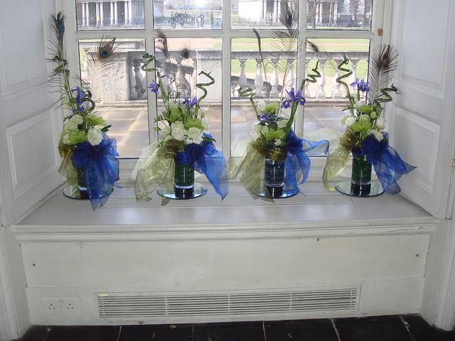 Green white and blue wedding flower arrangement 3 Gay Corran West