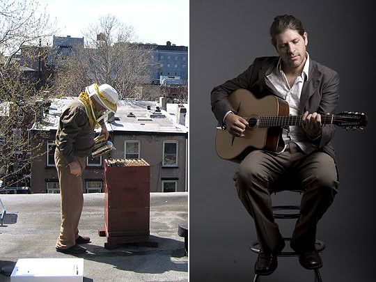 Left: NYC Beekeeping Meetup Group (Copyright: NYC Beekeeping); right: Stephane Wrembel (Photo by Michael Weintrob)